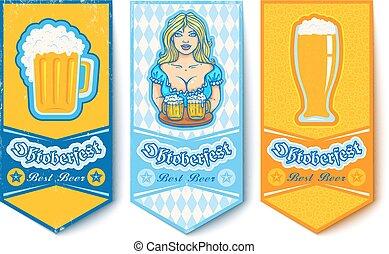 Banners para Oktoberfest con chicas y cervezas