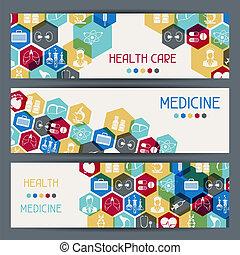 banners., salud médica, horizontal, cuidado