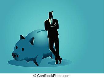 Banquero apoyado en una alcancía gigante