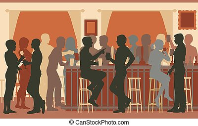 Bar de noche ocupado