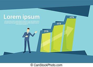 Bar financiero de hombre de negocios creciendo en un gráfico de crecimiento del concepto de éxito