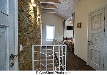 barandilla, hogar, puertas, contemporáneo, escalera, espacioso, style., interior, pasillo, habitación, moderno
