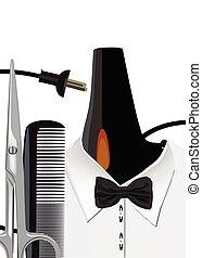 barber's, tijeras, phon, cargado, camisa, peine, trabajo