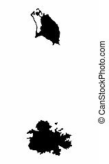 barbuda, silueta, antigua, mapa