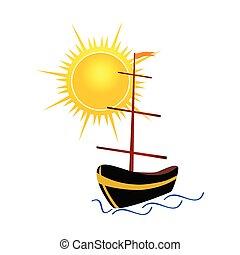 Barco con ilustración del vector solar
