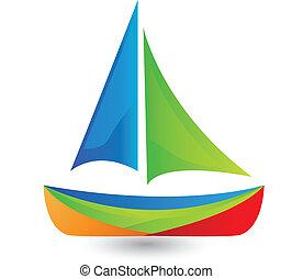 Barco con logotipo de colores vivos