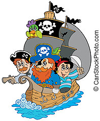 Barco con varios piratas de caricatura