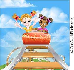 barco de cabotaje, rodillo, niños