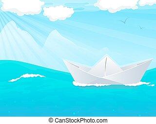 Barco de papel en agua