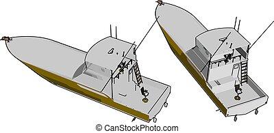 Barco patrulla, ilustración, vector de fondo blanco.