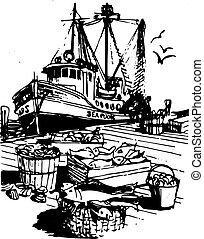 Barco pesquero rústico
