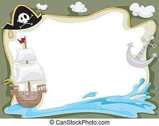 barco, pirata, plano de fondo