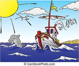 Barco saliendo a pescar, con delfines