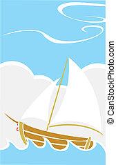 Barco sencillo en el mar
