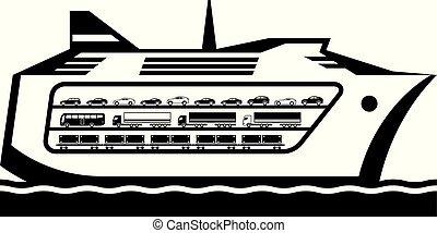 barco, transbordador, mar, transportes, a través de, vehículos