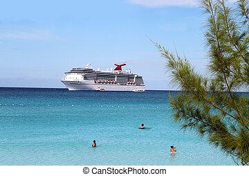 Barco tropical y playa