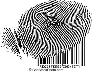 barcode., registrado, -, huella digital, favorecedor, identidad