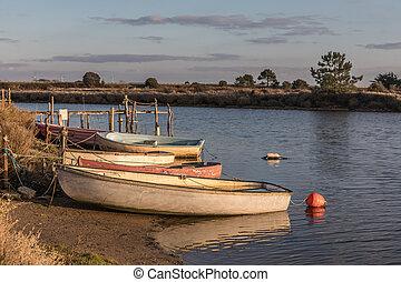 barcos, río, auzance