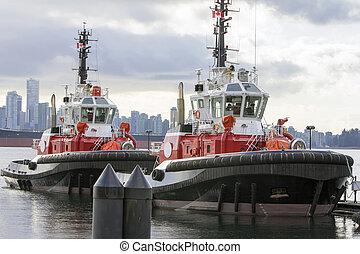 Barcos Tug en el puerto de Vancouver BC