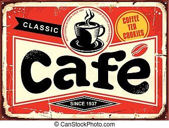 barra, café, señal, retro, estaño