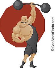 barra con pesas, levantamiento, hombre, sonriente, fuerte