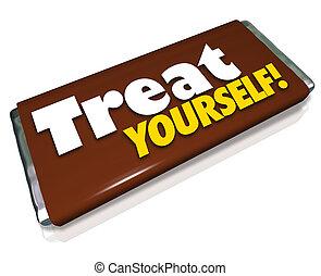 barra, dulce, usted mismo, gusto, indulgencia, chocolate