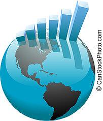 barra, empresa / negocio, gráfico, global, crecimiento, mundo