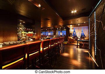 barra, restaurante, sillas, mostrador, cómodo, noche, vacío