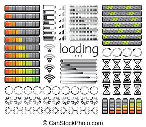 Barras de carga, baterías de carga y fuerza de señal de wifi. Ilustración de vectores.