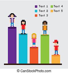 Barras de estadísticas diseño pixel