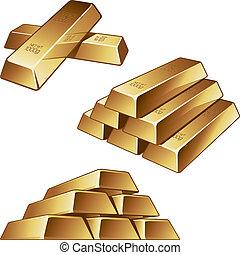 Barras de oro en blanco