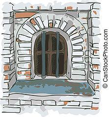 barras, jail., viejo, ventana