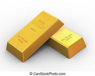 barras, multa, dos, oro, 3d