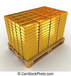 barras, pallet., terreno, oro
