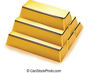 barras, pila, oro