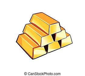 barras, vector, oro
