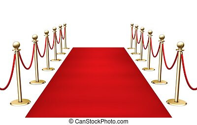 barrera, 3d, vector, fondo., alfombra, rojo, dorado, realista, esgrima, ilustración, blanco