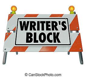 barrera, construcción, barricada, camino, palabras, bloque escritor