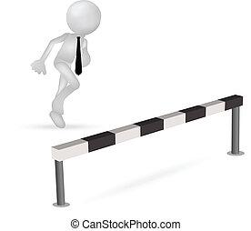 barrera, empresa / negocio, salto, corriente, por, hombre, 3d