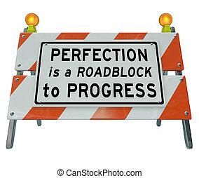 barrera, señal, barricada, barricada, perfección, progreso