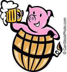 barril, cerdo, jarro de cerveza, cerdo