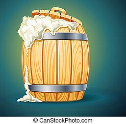 Barril de madera lleno de cerveza con espuma