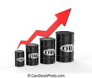 Barriles de petróleo con flecha roja.