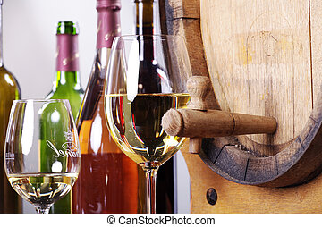 barriles de vino y vasos de vino