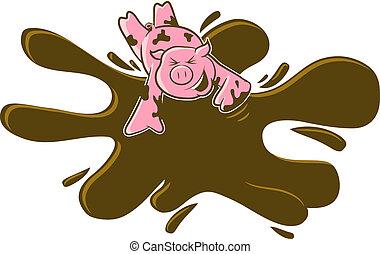 barro, caricatura, cerdo