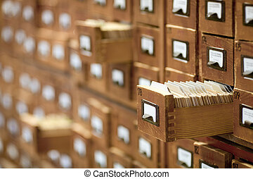 base de datos, vendimia, concept., tarjeta de la biblioteca, archivo, catalog., o, cabinet.