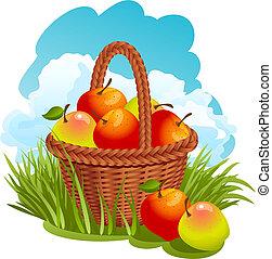 Basket con manzanas