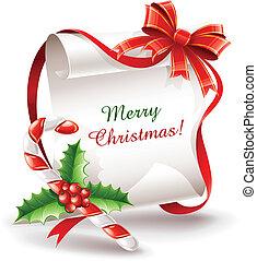 bastón, caramelo, tarjeta de felicitación, navidad