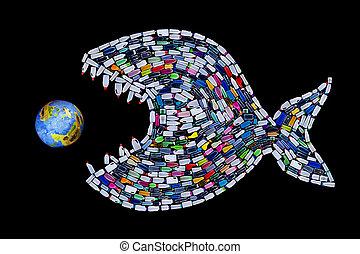 Basura destruyendo océanos y tierra, concepto