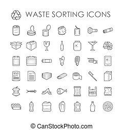 basura, relacionado, desperdicio, separación, conjunto, reciclaje, contorno, clasificación, icons.